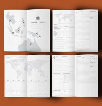 Travel Planner Printable, Travel Journal, Vacation Planner, Midori Insert, Midori Refill, Travel Iti