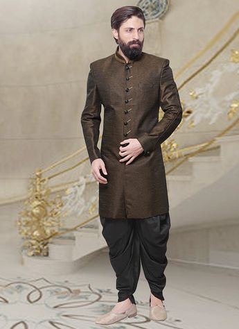 7931b3b1fa Buy Dark Brown Dhoti Style Indo Western Sherwani online from the wide  collection of indowestern-
