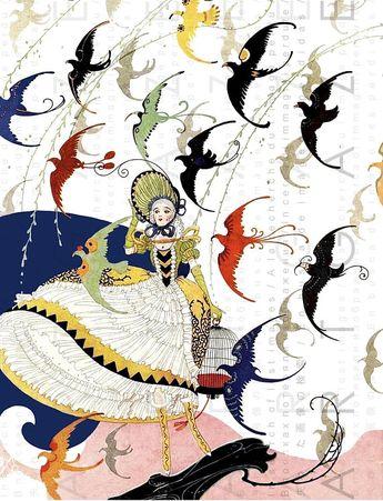 Art Deco Lady & Colorful Flock Of Birds! 20's STUNNING Vintage Illustration. Art deco Print Digital Download.
