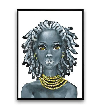 Minimalist, African Girl African Art, Portrait Painting, Black and White art, Portrait Painting, Wall Art, Wall art, Canvas print