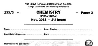 KCSE Chemistry Paper 2 2017 Exam questions with Answers (KN