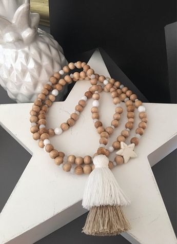 """Necklace Boho necklace wood beads color """"natural"""" and white/beige - big tassel - shades of beige"""