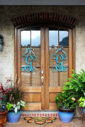 My personal front doors. Wooden monograms from Keena's Creations. Find me on Facebook.