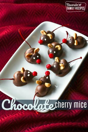 Chocolate Cherry Mice are the cutest little Christmastime treats! Creamy chocolate covered cherries with an adorable mouse face that kids love to make and eat. #chocolatecherrymice #cherrychocolates #candymice #ChristmasTreat #ChocolateMice #Christmas #ChocolateCoveredCherries via @favfamilyrecipz