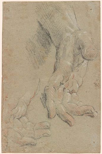 Guido Reni | Two Studies of a Right Hand | Drawings Online | The Morgan Library & Museum