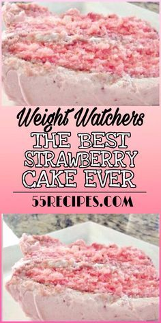 To Make this Recipe You will Need the following ingredients: 1 (18.25-ounce) box white cake mix 1 (3-ounce) box strawberry-flavored instant gelatin 1 (15-ounce) package frozen strawberries in syrup, thawed and pureed #weightwatchers #thebest #strawberry #cake #slimmingworld #desserts