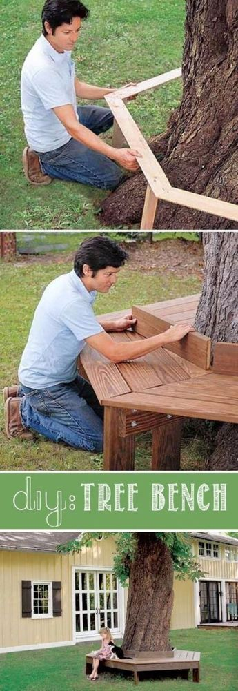 Creative Ways to Increase Curb Appeal on A Budget - Build A Tree Bench - Cheap and Easy Ideas for Upgrading Your Front Porch, Landscaping, Driveways, Garage Doors, Brick and Home Exteriors. Add Window Boxes, House Numbers, Mailboxes and Yard Makeovers diyjoy.com/...