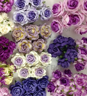 175 Mixed Purple Plum Lilac White Roses Mulberry Paper Flowers Scrapbook Craft Wedding MS- Set 4