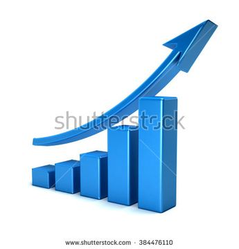 3d business growth bar graph curve - stock photo