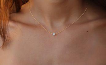 Opal necklace, white opal necklace, opal gold necklace, opal necklace, tiny dot necklace, opal bead necklace, opal jewelry, minimal necklace