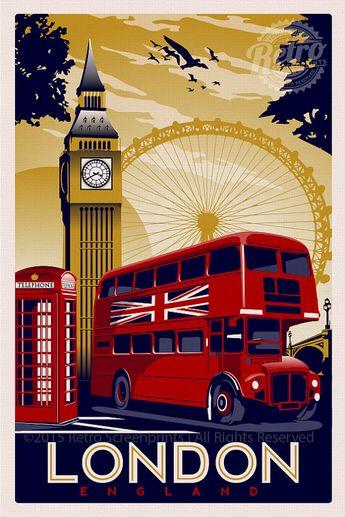 London England Vintage Retro Travel Screen Print Poster