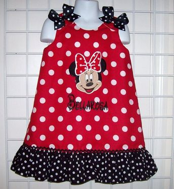 360b63aea Red Dot Minnie Mouse Minnie FACE Applique Monogram Dress with Black Dot  Ruffle