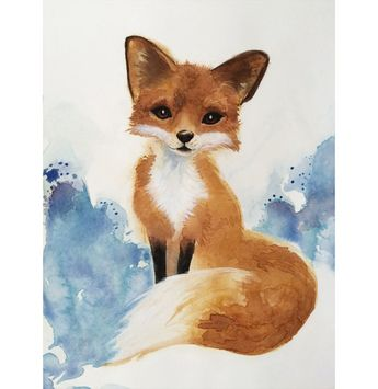Golden Fox Art Print, Nursery Wall Decor,Woodland Watercolor Painting, Kid's Room Art, Fox Gift for Her, Blue and Golden Brown Giclee Art