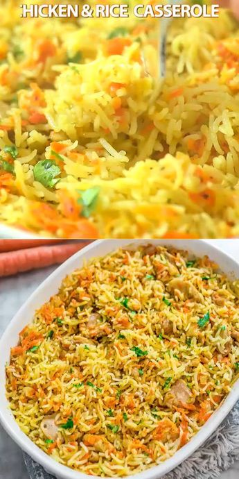 This simple and easy Chicken Rice Casserole makes an elegant and tasty dinner. Made with onions, carrots, basmati rice, and chicken, you won't believe how delicious this meal is! Make this simple chicken dinner today! #chicken #casserole #rice #dinner #recipeoftheday #cooktoria