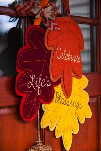Count Your Blessings felt door decor - gorgeous autumn colors