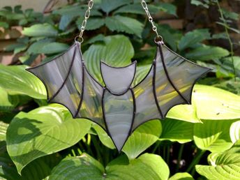 Stained Glass Bat Suncatcher, Stained Glass Window Hangings, Bat Wall Decor. Flying Bat Wall Hanging