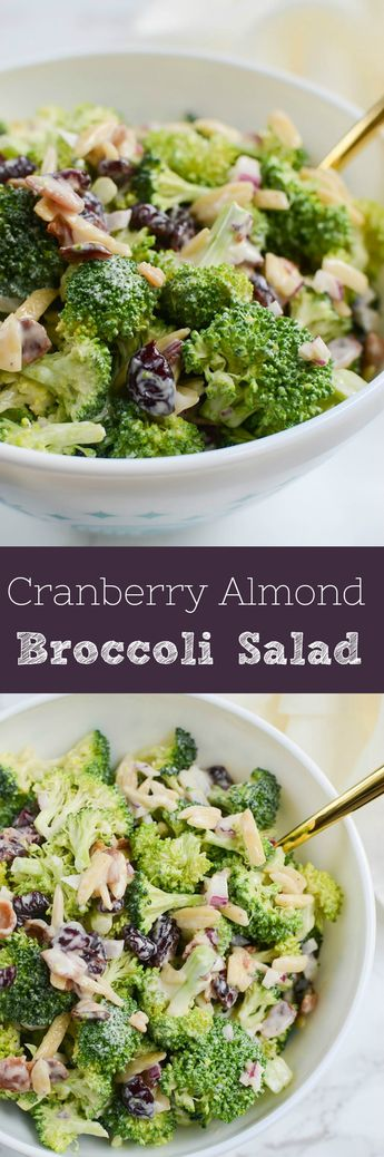 Cranberry Almond Broccoli Salad - a lightened up version of the classic! Broccoli, crumbled bacon, almonds, red onion, and dried cranberries in a creamy, tangy dressing. Perfect side dish for a summer party or a holiday dinner!