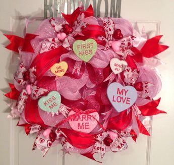 Deco Mesh Wreath Valentine Wreath Heart By Mrschristmaswor