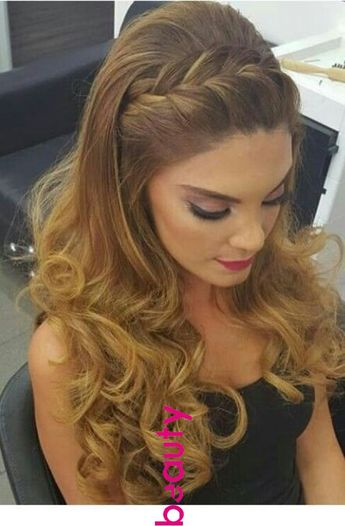 Braid hairstyle and nice makeup