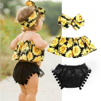 Black and Yellow Sunflower 3pcs Set
