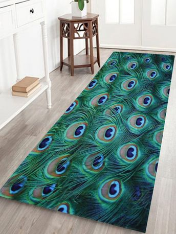 Coral Fleece Peacock Feather Floor Bath Rug - MALACHITE GREEN W24 INCH * L71 INCH