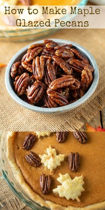 Maple Glazed Pecans can be a delicious sweet treat, a toasted crunchy topping for ice cream or to decorate your holiday dessert. #candiedpecans #mapleglazedpecans