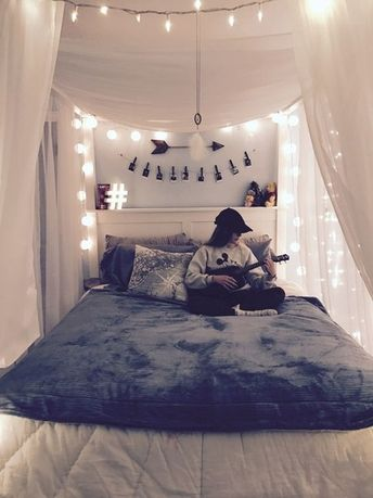 Teen Bedroom Ideas - Teen Girls Room Inspiration #goals #ShopStyle #roominspo #roomideas #inspiration #hashtag #mickey #ukalele #canopy #stringlights #shopthelook #teens