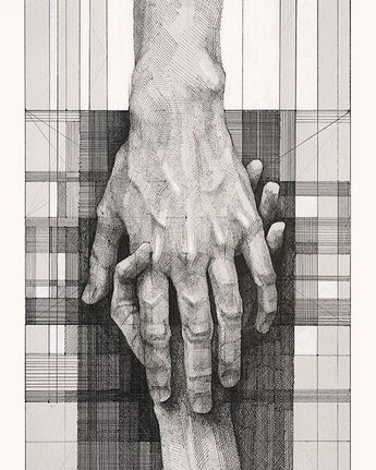 Pen hands drawing by Megan McGlynn