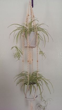 """2-Tier- 60"""" Inches Long Hand Crafted Macrame Plant Hanger with Wooden Beads- Cream (Available white colors)"""