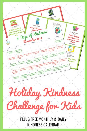 FREE Monthly and Daily Kindness Calendar.  Join our Holiday Kindness Challenge for Kids and help us Build Generation Kindness! #givingartfullykids #kindness #kindnessactivities #kindnessactivitiesforkids #kindnesschallenge #holidayactivities