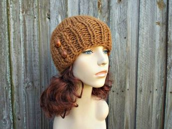 4bd261a5831f11 Chunky Knit Hat Womens Beanie Hazelnut Brown Knit Hat - Brown Hat Brown  Beanie Brown Winter