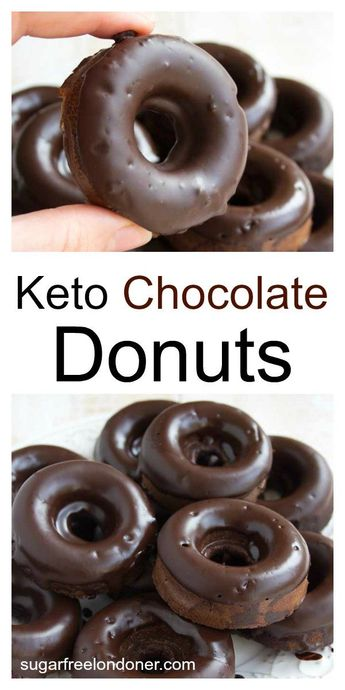 These moist Keto chocolate donuts will satisfy the most urgent chocolate craving. A delicious treat that's sugar free, gluten free and low carb. #chocolatedonuts #lowcarb #sugarfree
