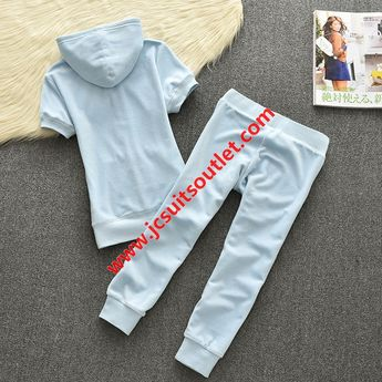 a9e7cdf4faaa Juicy Couture Original Velour Tracksuit 613 2pcs Women Suits Sky Blue