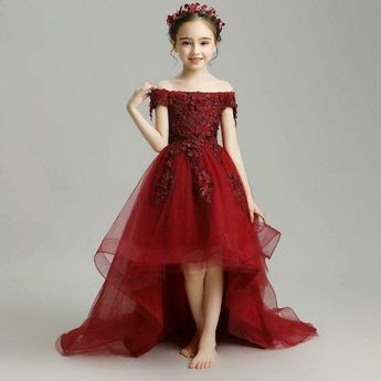 (Ad)eBay - Wine Red Flower Girl Dresses Wedding Long Trailing Girls Formal Dress Kids