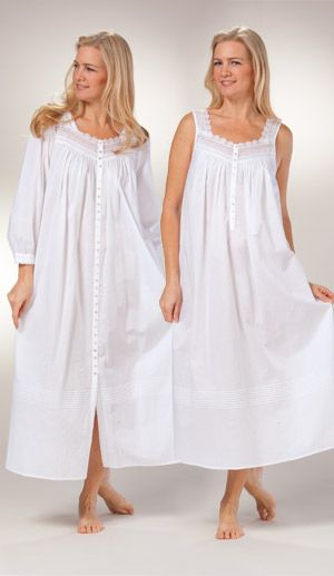 Peignoir Set by Eileen West - White Cotton Gown   Robe in Geneva cc1aa71a8