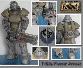Created by Hungarian designer and modeler Daishi , this is a perfect paper model version of the T-51b Power Armor with the Gatling Lase...