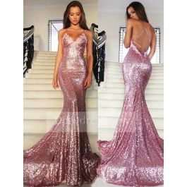 b21227a07d1 Mermaid Long Rose Pink Sequins Spaghetti Strap Evening Prom Dress ItemPi0033