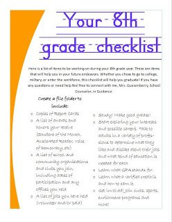 Checklists for 8th graders to encourage graduation School Counselor