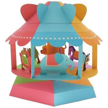 Wind powered merry-go-round,Toys,Paper Craft,Educational,rabbit,horse,amusement park,Wind ,merry-go-round,camel,Animals,Panda,lion,Moving
