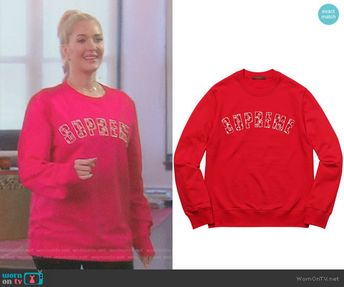 9cbb2aae836 Erika s red supreme sweatshirt on The Real Housewives of Beverly Hills