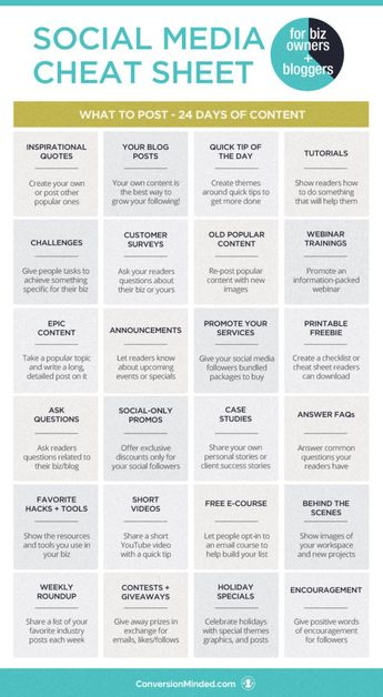Social Media Cheat Sheet + Content Calendar for Biz Owners and Bloggers