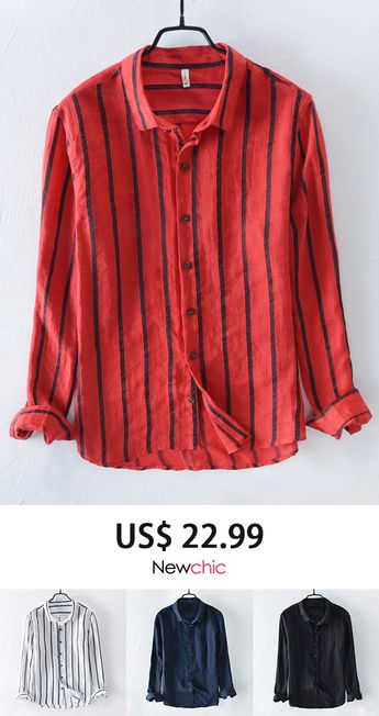 [50%off]Casual Breathable Linen Shirt Striped Loose Shirt for Men #shirt #mens #style
