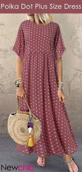 #Back To School# Style   Polka Dot Plus Size Dress