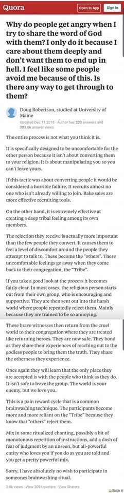 Trying to convert people is not about the potential convert--it's about reinforcing group identity