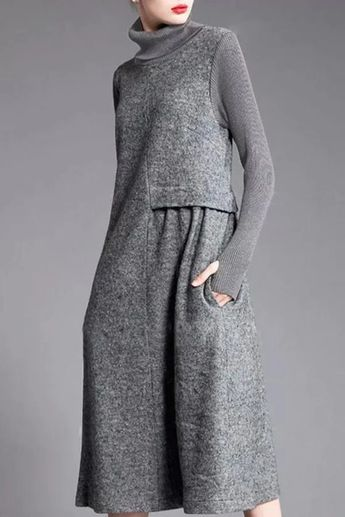Solid Paneled Turtleneck Casual Sweater Dress - shopingnova