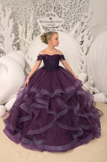 Purple Flower Girl Dress - Birthday Wedding party Bridesmaid Holiday Purple Lace Flower Girl Dress 21-099