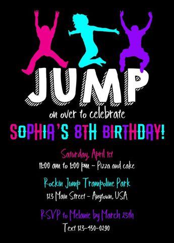 girl jump trampoline park birthday party invitation