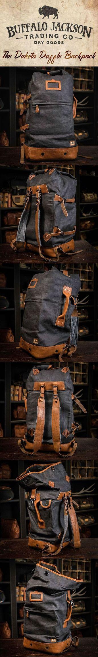 Dakota Waxed Canvas Military Sea Bag Backpack | Navy Charcoal w/ Saddle Tan Leather