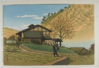Landscape with a figure carrying a pack.  House and fruit tree in the background. Kawase Hasui