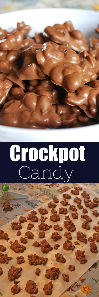 Crockpot Candy is a must make for the holiday season! It's like chocolate covered peanuts but better! Only 4 ingredients and made completely in the slow cooker. It makes a ton so it is perfect for cookie tins or holiday parties!